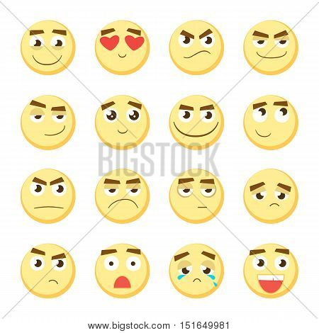 Emoticon set. Collection of Emoji. 3d emoticons. Smiley face icons isolated on white background. Vector eps10