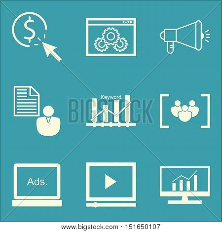 Set Of Seo, Marketing And Advertising Icons On Keyword Ranking, Display Advertising, Client Brief An