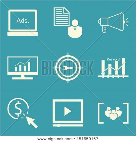 Set Of Seo, Marketing And Advertising Icons On Comprehensive Analytics, Pay Per Click, Viral Marketi