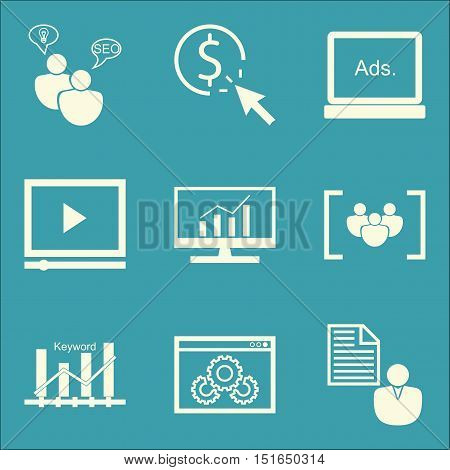 Set Of Seo, Marketing And Advertising Icons On Seo Consulting, Comprehensive Analytics, Video Advert