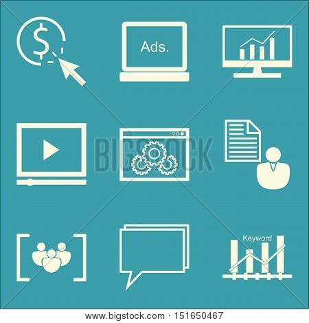Set Of Seo, Marketing And Advertising Icons On Online Consulting, Keyword Ranking, Comprehensive Ana