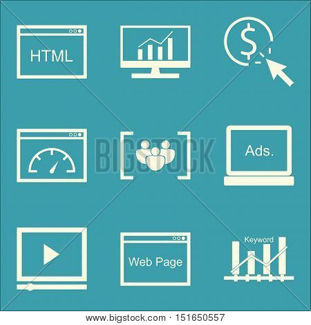 Set Of Seo, Marketing And Advertising Icons On Keyword Ranking, Pay Per Click, Html Code And More. P