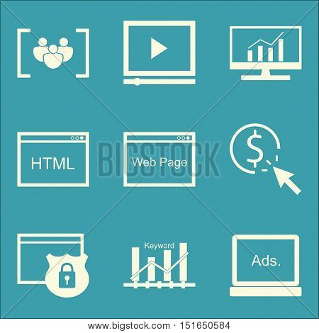 Set Of Seo, Marketing And Advertising Icons On Focus Group, Html Code, Website Protection And More.