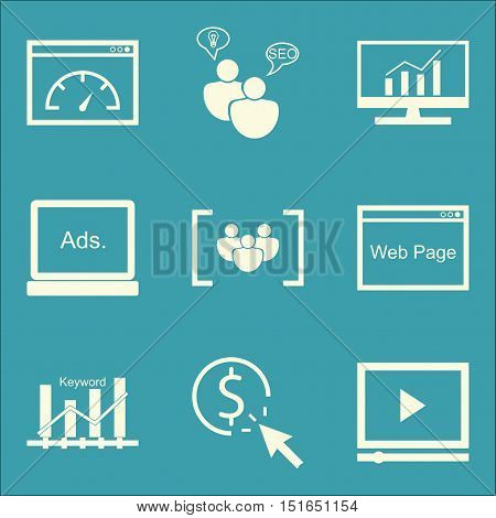 Set Of Seo, Marketing And Advertising Icons On Seo Consulting, Video Advertising, Display Advertisin