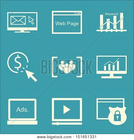Set Of Seo, Marketing And Advertising Icons On Display Advertising, Pay Per Click, Comprehensive Ana