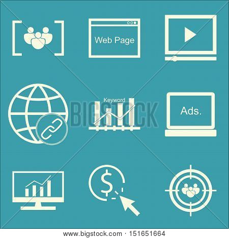 Set Of Seo, Marketing And Advertising Icons On Focus Group, Audience Targeting, Comprehensive Analyt