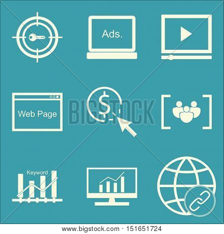 Set Of Seo, Marketing And Advertising Icons On Focus Group, Comprehensive Analytics, Link Building A