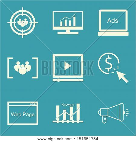 Set Of Seo, Marketing And Advertising Icons On Comprehensive Analytics, Viral Marketing, Focus Group