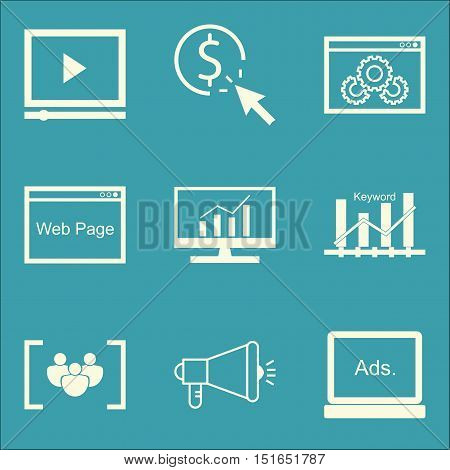 Set Of Seo, Marketing And Advertising Icons On Keyword Ranking, Comprehensive Analytics, Website Opt
