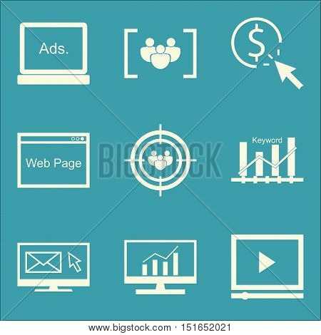 Set Of Seo, Marketing And Advertising Icons On Web Page, Display Advertising, Video Advertising And