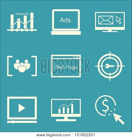 Set Of Seo, Marketing And Advertising Icons On Comprehensive Analytics, Email Marketing, Pay Per Cli