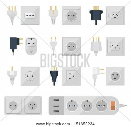 Electrical outlets plugs vector illustration.