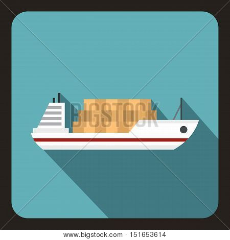 Cargo ship icon. Flat illustration of ship vector icon for web isolated on a baby blue background