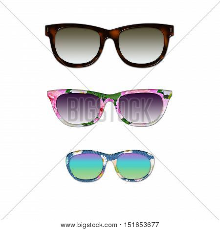 Glasses set for family isolated on white background. Funny Raster illustration.