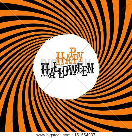 Happy Halloween Typography. On orange rays hypnotic background