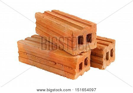 8-Profile Red Bricks isolated on white background