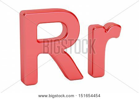 Small and large red letter R alphabet 3D rendering isolated on white background