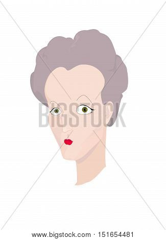 Portrait of an old strict gray-haired lady with red painted lips. Vector illustration. Cartoon style