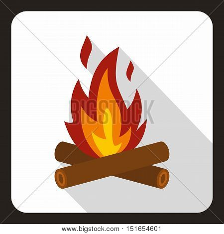 Burning bonfire icon. Flat illustration of burning bonfire vector icon for web