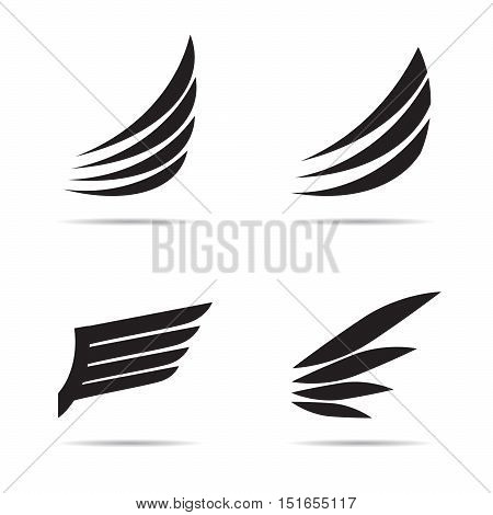Black wings of bird. Vector Illustration and graphic element.