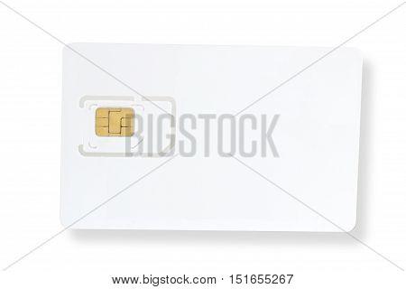 White sim card isolated on white background
