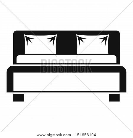 Double bed icon. Simple illustration of bed vector icon for web