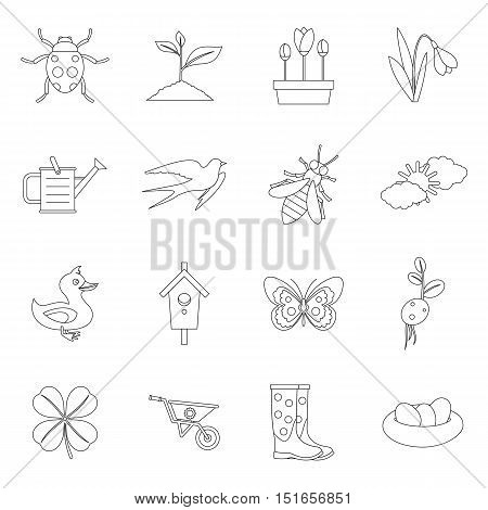 Spring icons set. Outline illustration of 16 spring vector icons for web