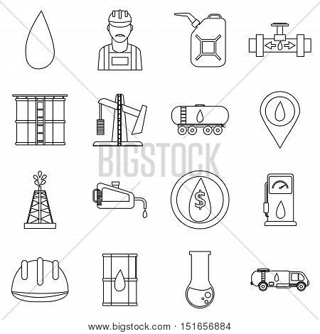Oil industry icons set. Outline illustration of 16 oil industry vector icons for web