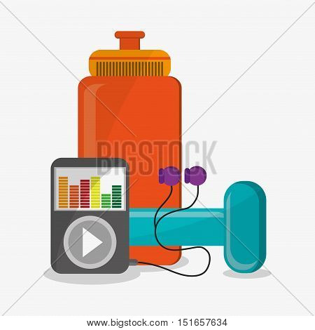 Weight mp3 and bottle icon. Fitness gym bodybuilding and healthy lifestyle theme. Colorful design. Vector illustration