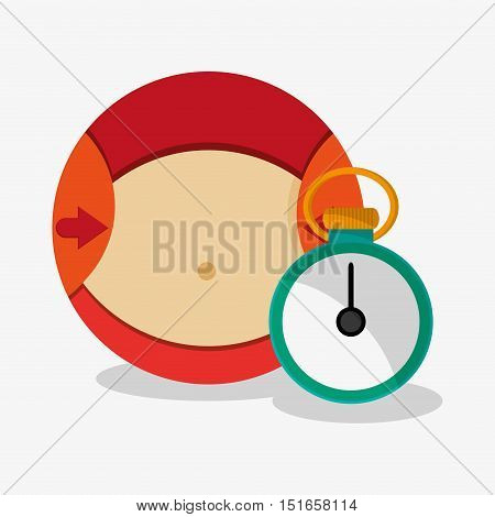 Stomach and chronometer icon. Fitness gym bodybuilding and healthy lifestyle theme. Colorful design. Vector illustration