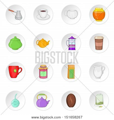 Tea and coffee icons set. Cartoon illustration of 16 tea and coffee vector icons for web