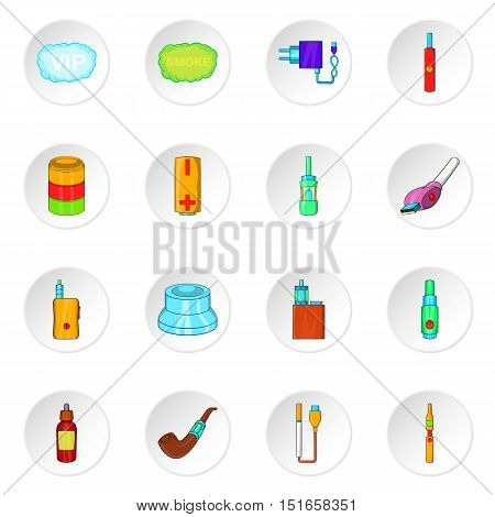Electronic cigarette icons set. Cartoon illustration of 16 electronic cigarette vector icons for web