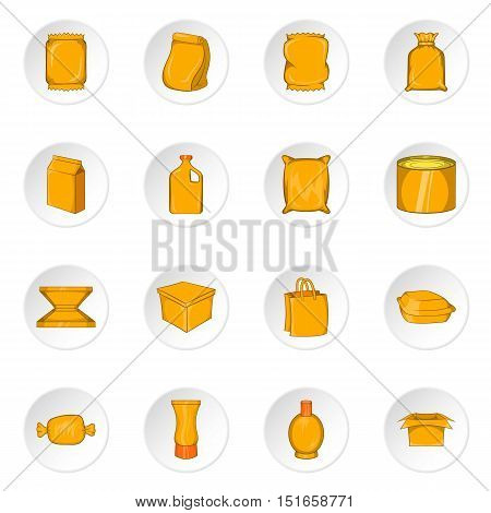 Packaging icons set. Cartoon illustration of 16 packaging vector icons for web
