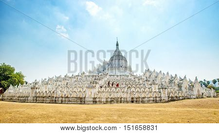 The white pagoda of Hsinbyume (Mya Thein Dan pagoda ) paya temple Mingun Mandalay Myanmar