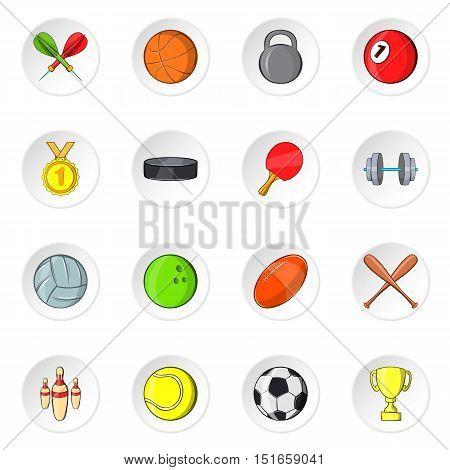 Sport equipment icons set. Cartoon illustration of 16 sport equipment vector icons for web