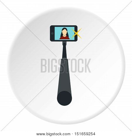 Selfie monopod stick with smartphone icon. Flat illustration of phone vector icon for web design