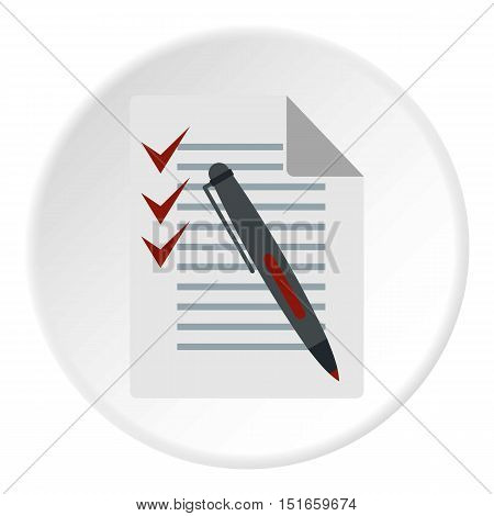 Checklist and pen icon. Flat illustration of checklist vector icon for web design