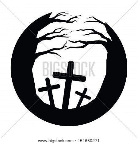 Icon moonlight and tree and graves of halloween vector EPS10