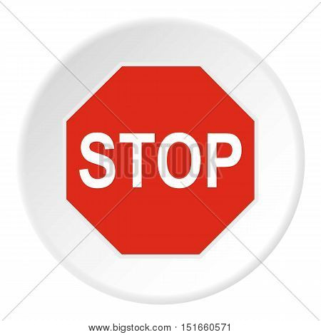 Stop sign icon. Flat illustration of stop sign vector icon for web
