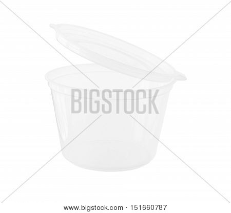 Transparent cup with fixed Lid isolated on white background