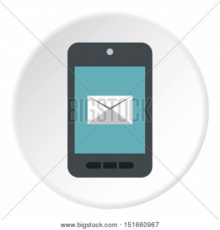 Writing e-mail on phone icon. Flat illustration of writing e-mail on phone vector icon for web