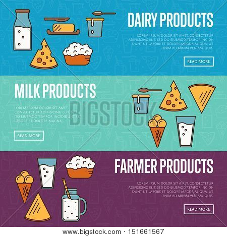 Dairy horizontal banners with different milk products vector. Healthy nutritious concept with butter, ice cream, milk, yoghurt, cheese, curd. Organic farmers food. Organic food and dairy product concept. Milk product icon. Cartoon dairy product. Dairy ico