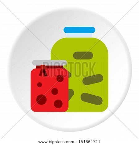 Jam jars icon. Flat illustration of jam jars vector icon for web