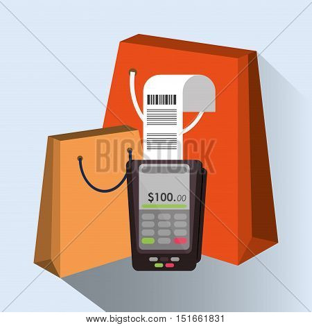 Bag and dataphone icon. Payment shopping commerce and merket theme. Colorful design. Vector illustration