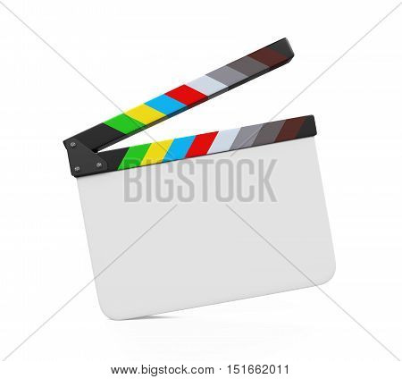 Empty Movie Clapper Board isolated on white background. 3D render