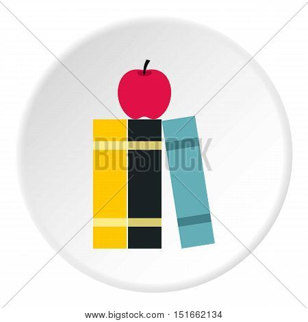Books and apple icon. Flat illustration of books and apple vector icon for web