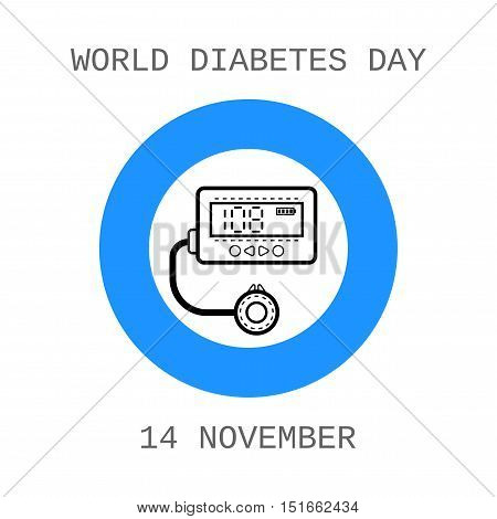 World diabetes day. Device for insulin. Flat icon. Vector illustration
