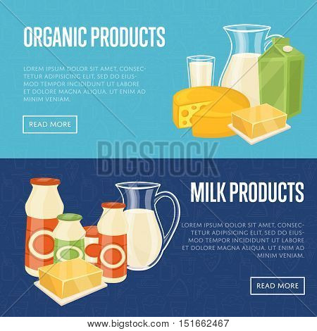 Milk organic products horizontal website templates with different ...