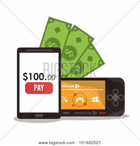 Smartphone videogame and bills icon. Payment shopping commerce and merket theme. Colorful design. Vector illustration