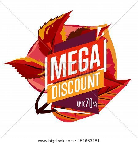 Autumn sale design template, vector illustration. Mega discount banner with colorful leaves on white background. Advertisement about autumnal discount. Incredible sale proposition concept